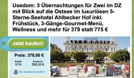 Anzeige Ahlbecker Hof bei Groupon