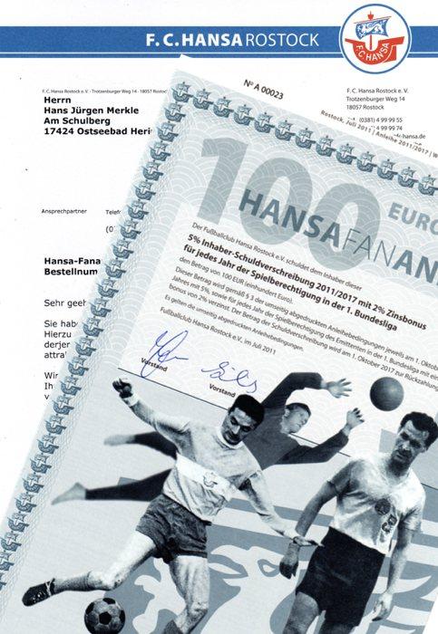 Hansa-Fananleihe 100 Euro