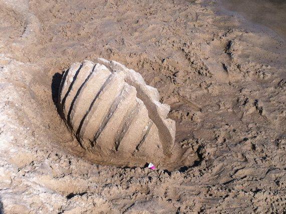 Sandskulptur am Strand von Heringsdorf