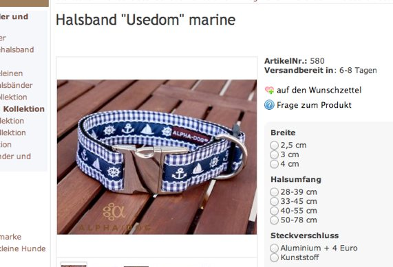 Hundehalsband Usedom