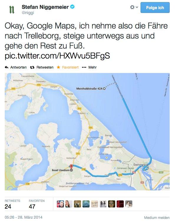 Google Maps nach Koserow via Trelleborg