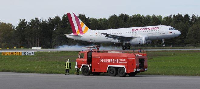 Germanwings A319 setzt in Heringsdorf auf
