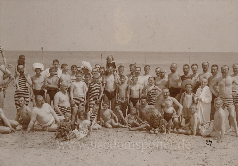 Herrengruppe am Strand von Zinnowitz 1908